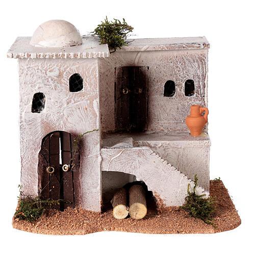 Casa per presepe in stile arabo con scale 15x20x15 cm 1