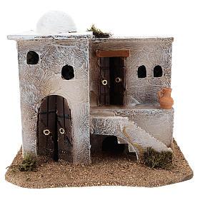 Ambientações para Presépio: lojas, casas, poços: Casa para presépio de estilo árabe com escada 15x20x15 cm