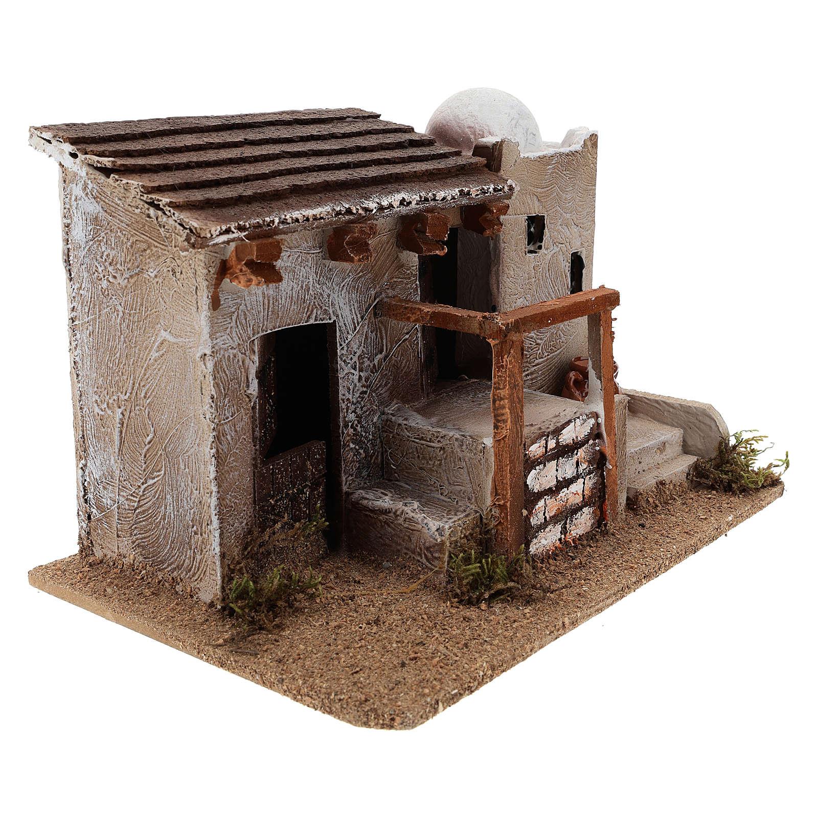 Maison pour crèche en style arabe avec vase terre cuite 15x25x15 cm 4