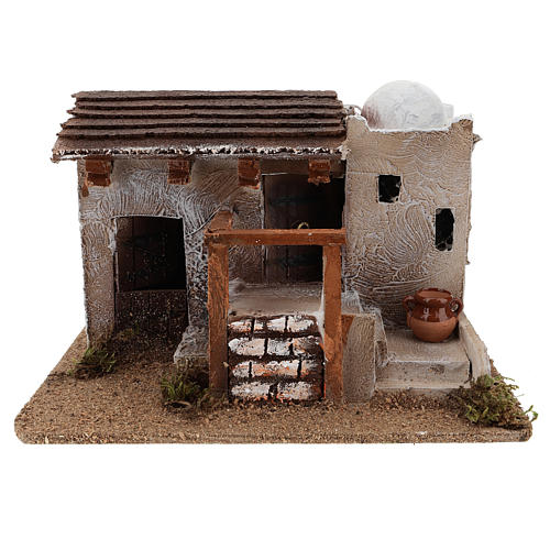 Maison pour crèche en style arabe avec vase terre cuite 15x25x15 cm 1