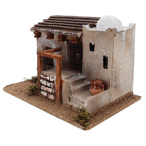 Maison pour crèche en style arabe avec vase terre cuite 15x25x15 cm 2