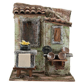 Mini outdoor kitchen with stove pasta plates 20x20x15 cm, for 13 cm nativity s1