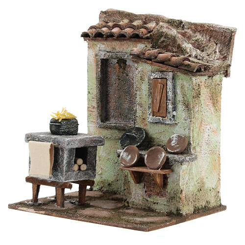 Mini outdoor kitchen with stove pasta plates 20x20x15 cm, for 13 cm nativity 2
