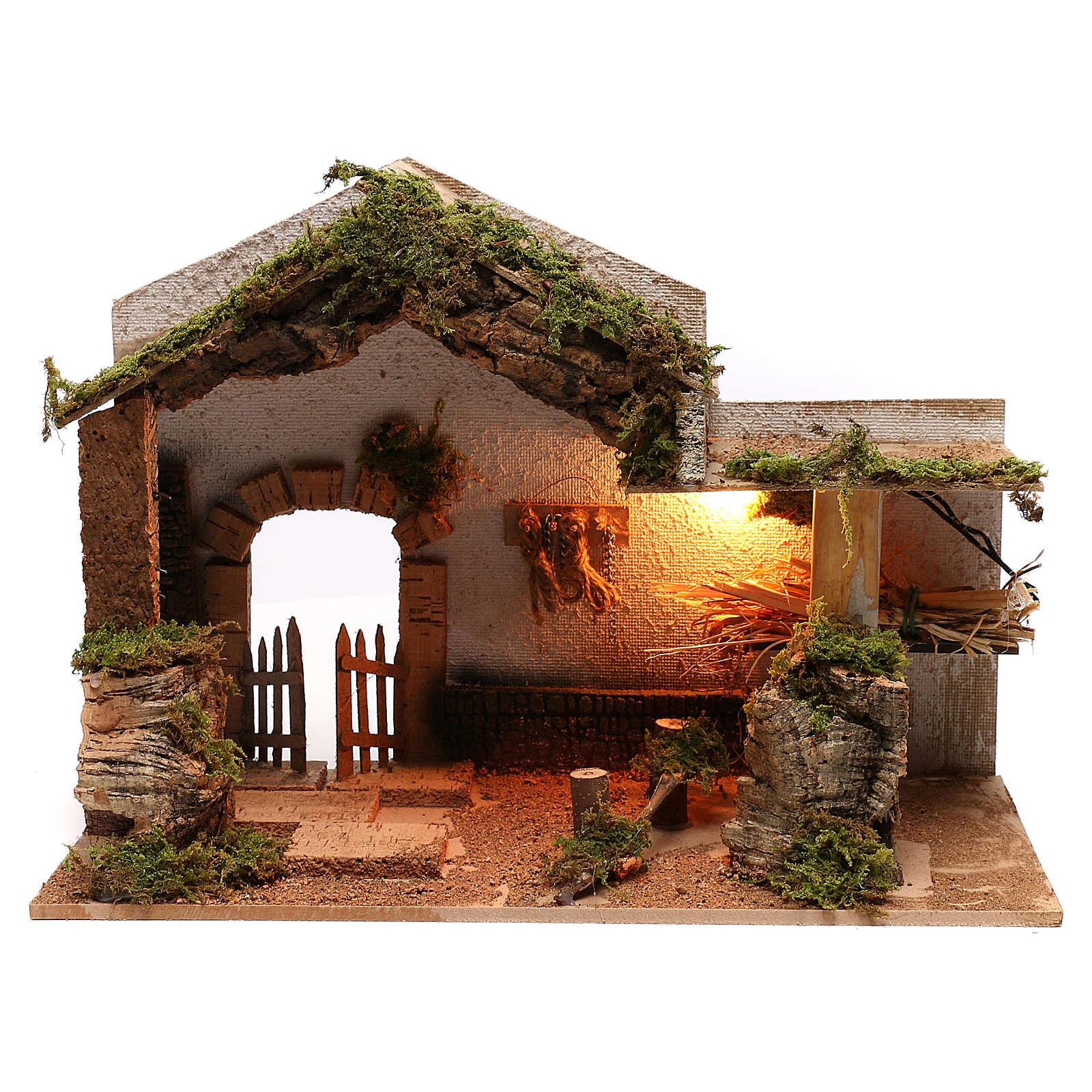 Stable with hay for Neapolitan Nativity scene of 8 cm 4