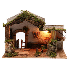 Stable with hay for Neapolitan Nativity scene of 8 cm s1