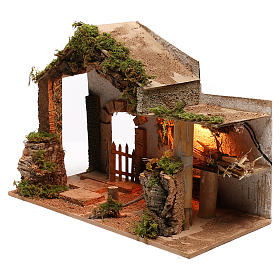 Stable with hay for Neapolitan Nativity scene of 8 cm s2