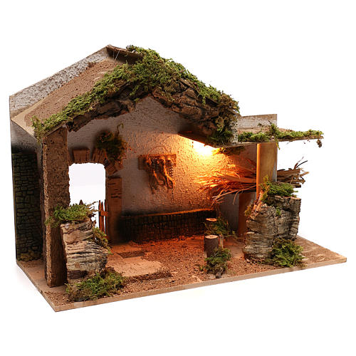 Stable with hay for Neapolitan Nativity scene of 8 cm 3