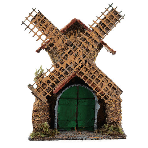 Moving windmill 25x15x10 cm Neapolitan Nativity scene of 6 cm 1
