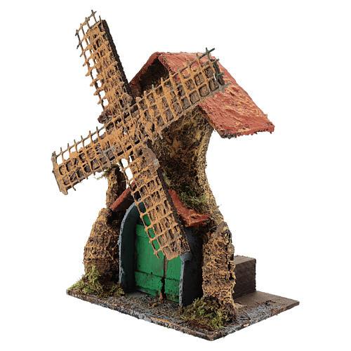 Moving windmill 25x15x10 cm Neapolitan Nativity scene of 6 cm 2