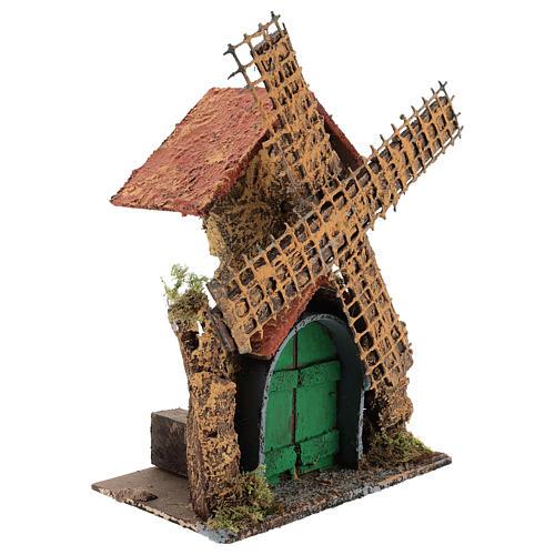 Moving windmill 25x15x10 cm Neapolitan Nativity scene of 6 cm 3