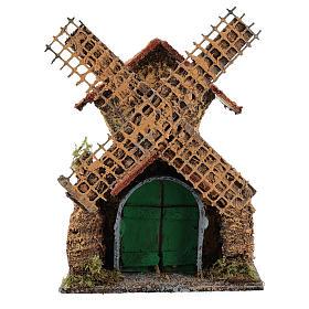 Moulin à vent mouvement 25x15x10 cm crèche napolitaine de 6 cm s1