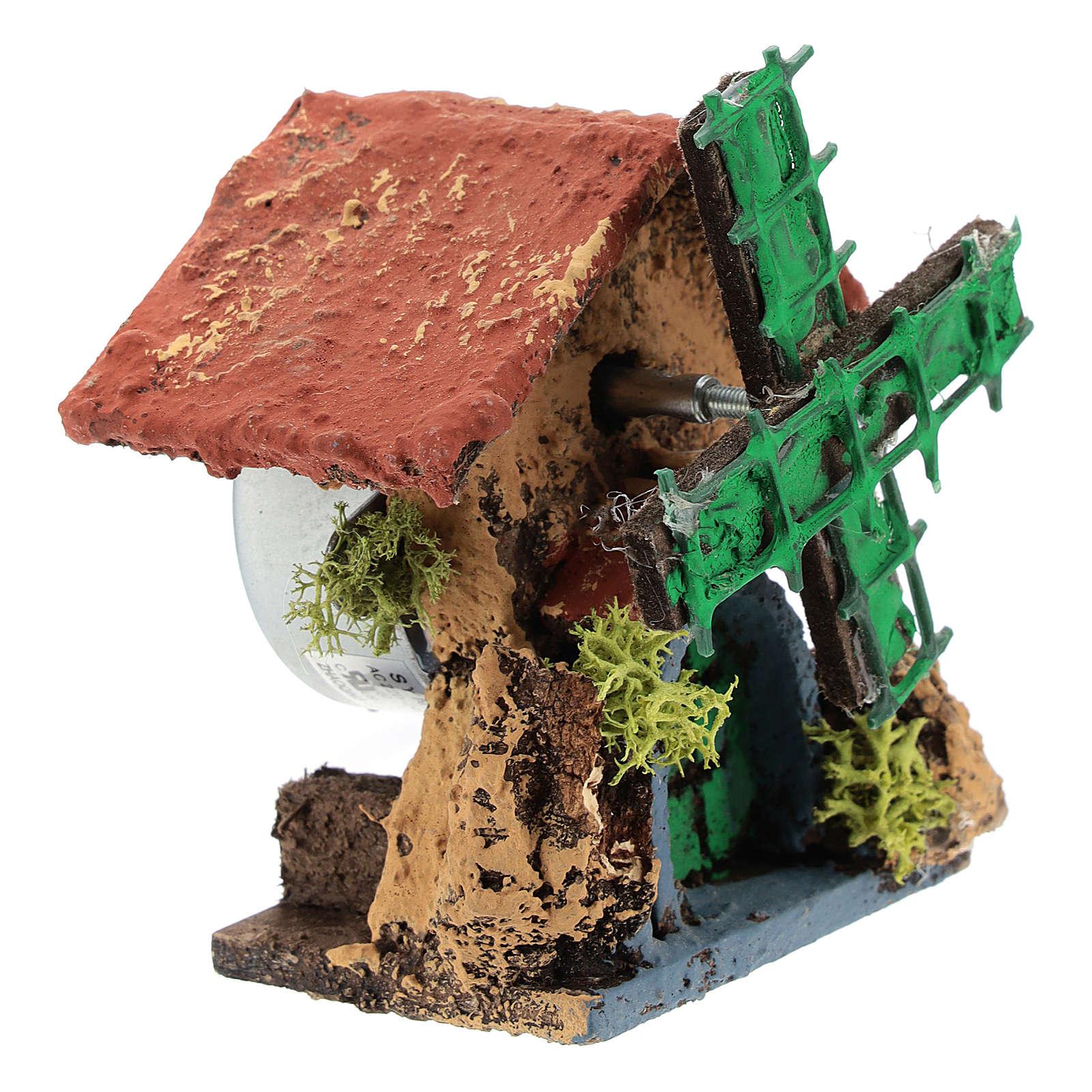 Cabaña con molino de viento 10x5x5 cm belén napolitano 4-6 cm 4