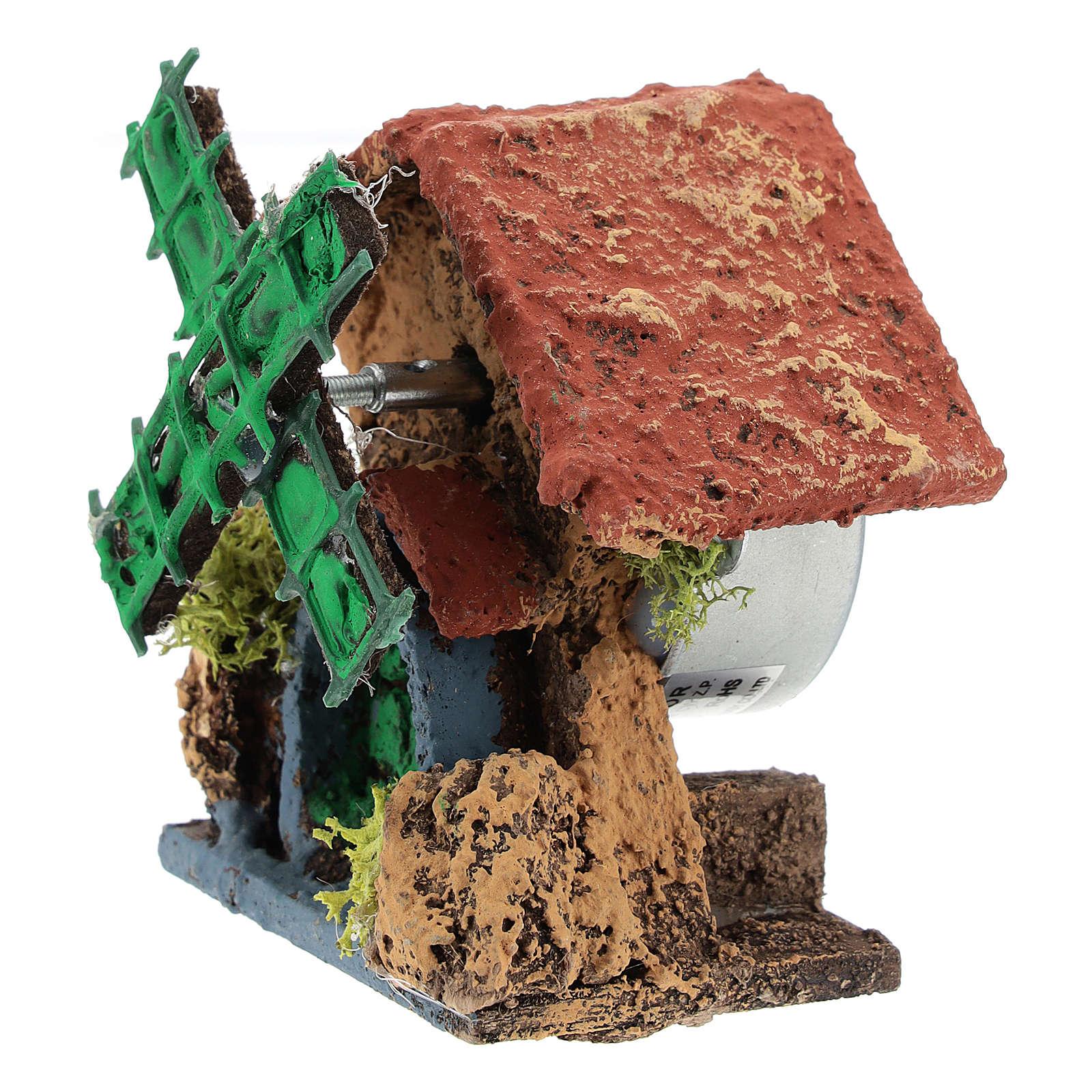 Cabane avec moulin à vent 10x5x5 cm crèche napolitaine 4-6 cm 4