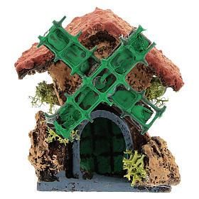 Cabane avec moulin à vent 10x5x5 cm crèche napolitaine 4-6 cm s1
