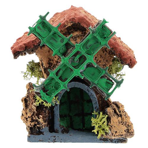 Cabane avec moulin à vent 10x5x5 cm crèche napolitaine 4-6 cm 1