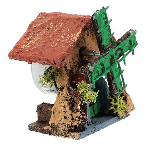 Cabane avec moulin à vent 10x5x5 cm crèche napolitaine 4-6 cm 3