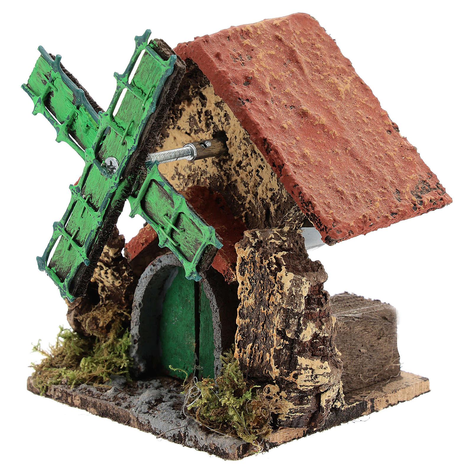 Ferme avec moulin à vent 10x10x5 cm crèche napolitaine 4-6 cm 4