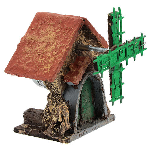 House with moving windmill 10x5x5 cm for Neapolitan Nativity scene of 4-6 cm 3