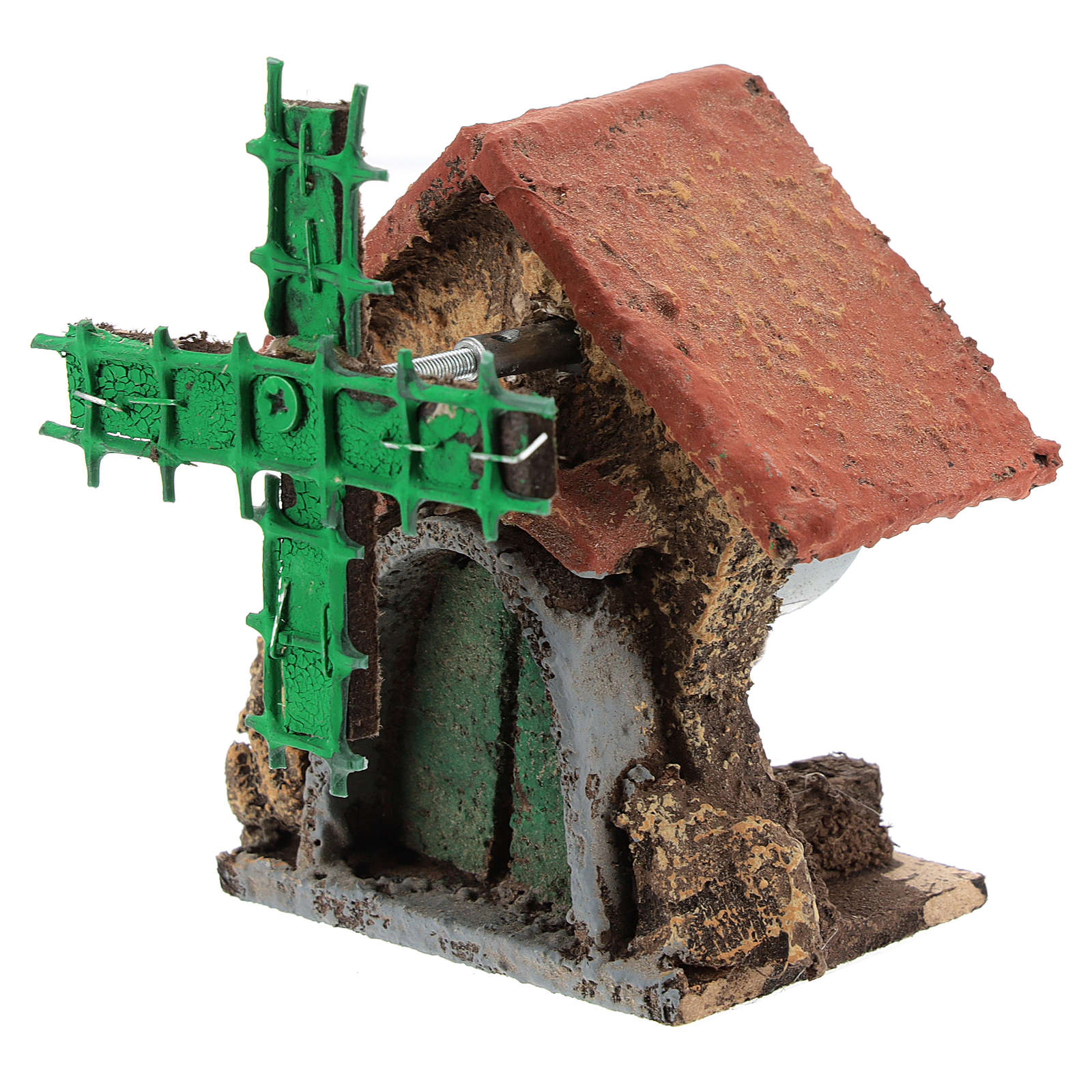 Casa con molino viento en movimiento 10x5x5 cm belén Nápoles 4-6 cm 4