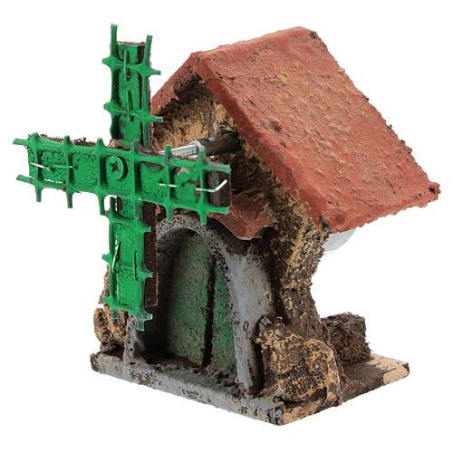 Casa con molino viento en movimiento 10x5x5 cm belén Nápoles 4-6 cm 2