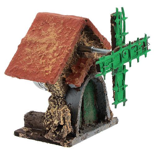 Casa con molino viento en movimiento 10x5x5 cm belén Nápoles 4-6 cm 3