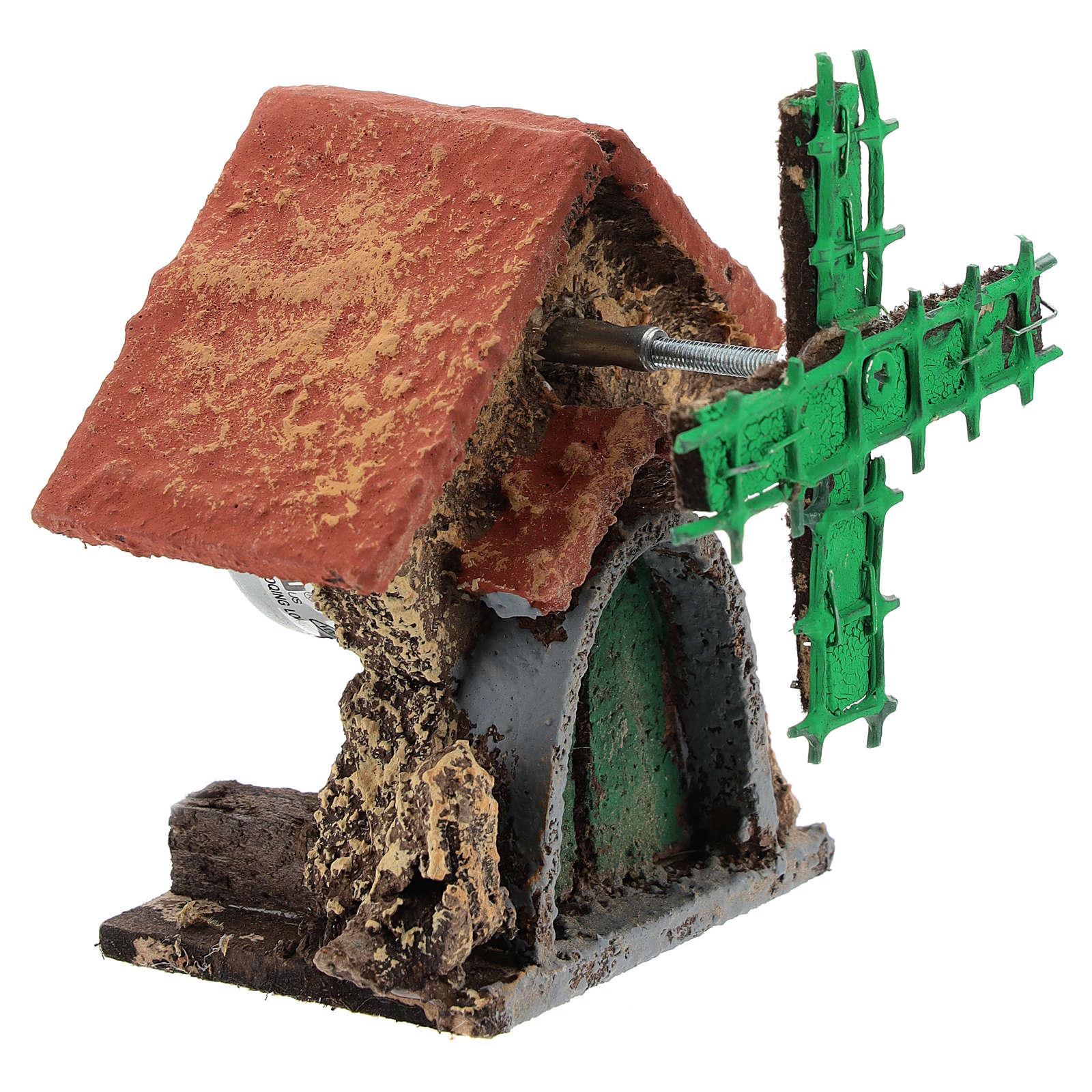 Maison avec moulin à vent en mouvement 10x5x5 cm crèche napolitaine 4-6 cm 4
