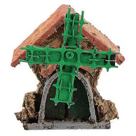 Maison avec moulin à vent en mouvement 10x5x5 cm crèche napolitaine 4-6 cm s1