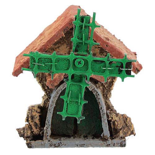 Maison avec moulin à vent en mouvement 10x5x5 cm crèche napolitaine 4-6 cm 1