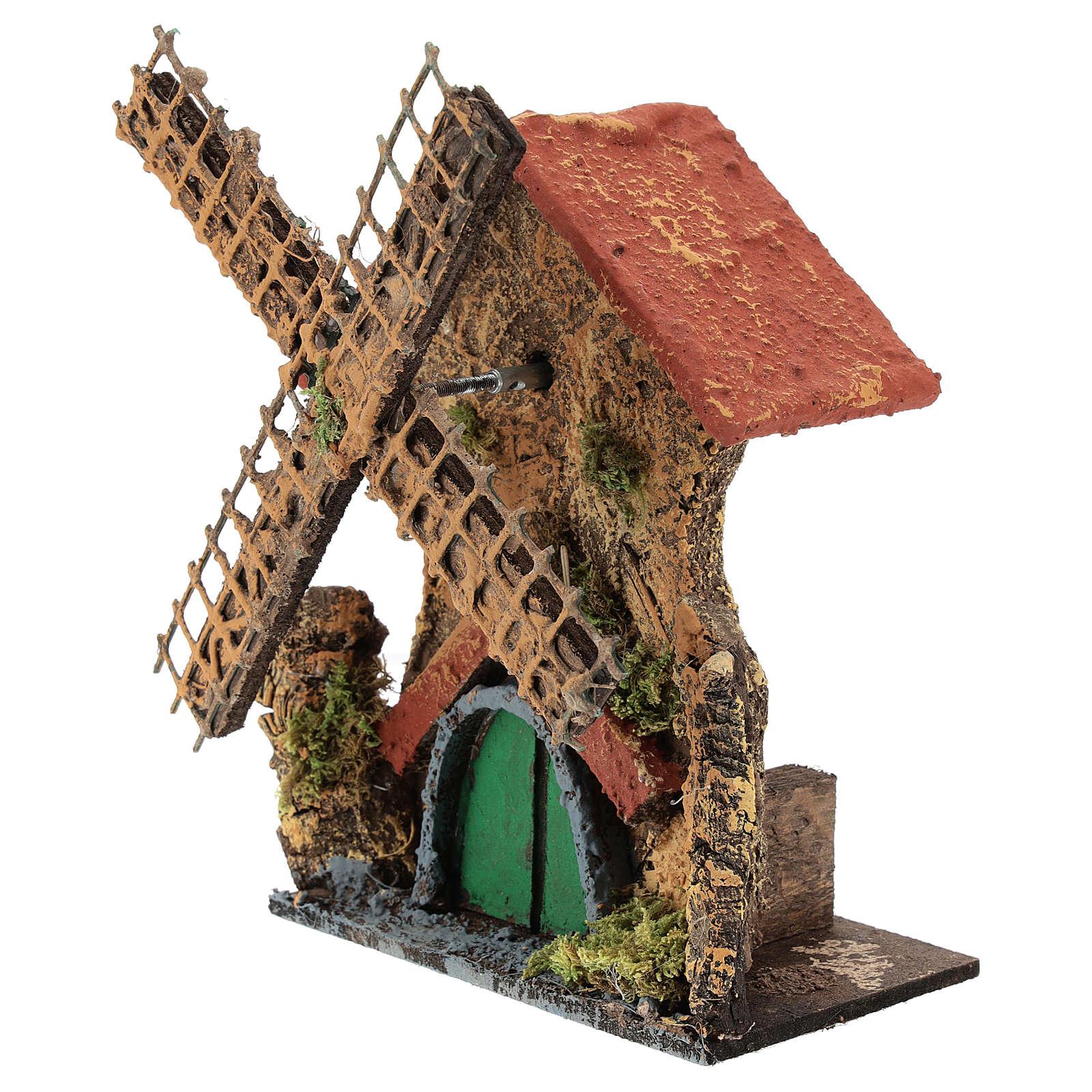 Moulin avec mouvement 15x10x5 cm crèche napolitaine 6-8 cm 4