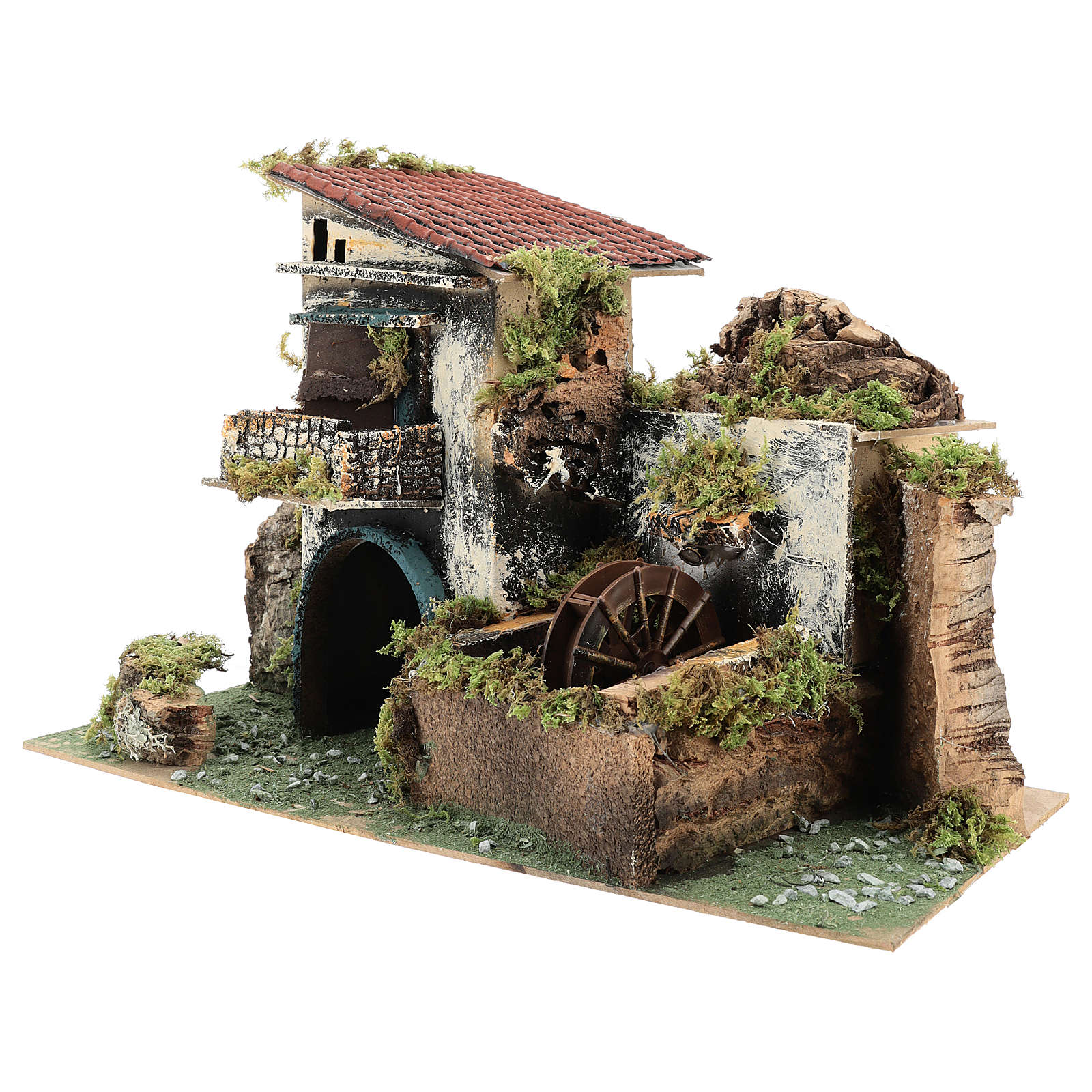 Neapolitan Nativity scene setting with watermill for 10 cm characters 4