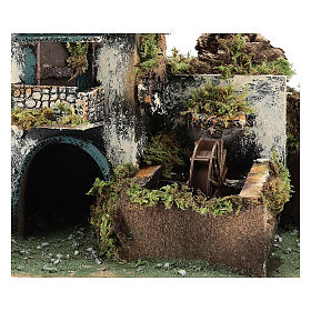 Neapolitan Nativity scene setting with watermill for 10 cm characters s2