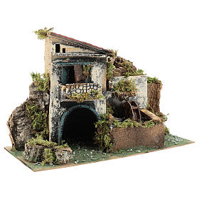 Neapolitan Nativity scene setting with watermill for 10 cm characters s4