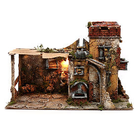 Neapolitan Nativity scene village setting with waterfall for 10 cm characters s1
