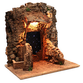 Rustic hut with sky background for Neapolitan Nativity scene of 10 cm s4