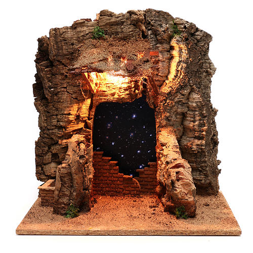Rustic hut with sky background for Neapolitan Nativity scene of 10 cm 1