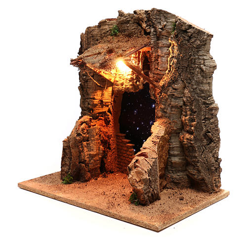 Rustic hut with sky background for Neapolitan Nativity scene of 10 cm 3