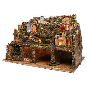 Nativity scene setting village with lights, waterfall for 6-8 characters 50x80x80 cm s2