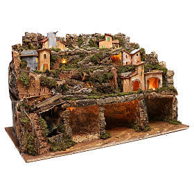 Nativity scene setting village with lights, waterfall for 6-8 characters 50x80x80 cm s3
