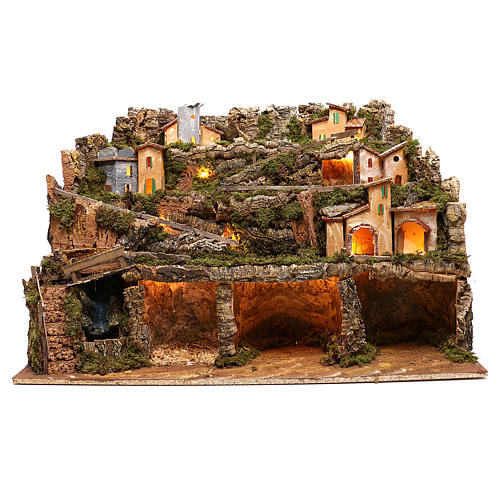Nativity scene setting village with lights, waterfall for 6-8 characters 50x80x80 cm 1