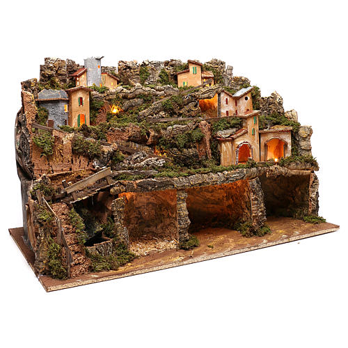 Nativity scene setting village with lights, waterfall for 6-8 characters 50x80x80 cm 3