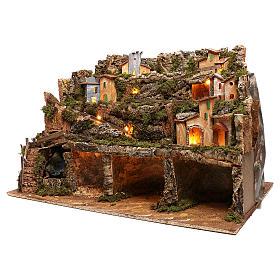 Borgo presepe luci e cascata con pompa 50x80x80 cm per presepe 6-8 cm s2