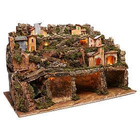 Borgo presepe luci e cascata con pompa 50x80x80 cm per presepe 6-8 cm s3