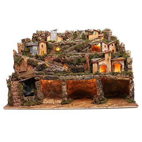 Borgo presepe luci e cascata con pompa 50x80x80 cm per presepe 6-8 cm 1
