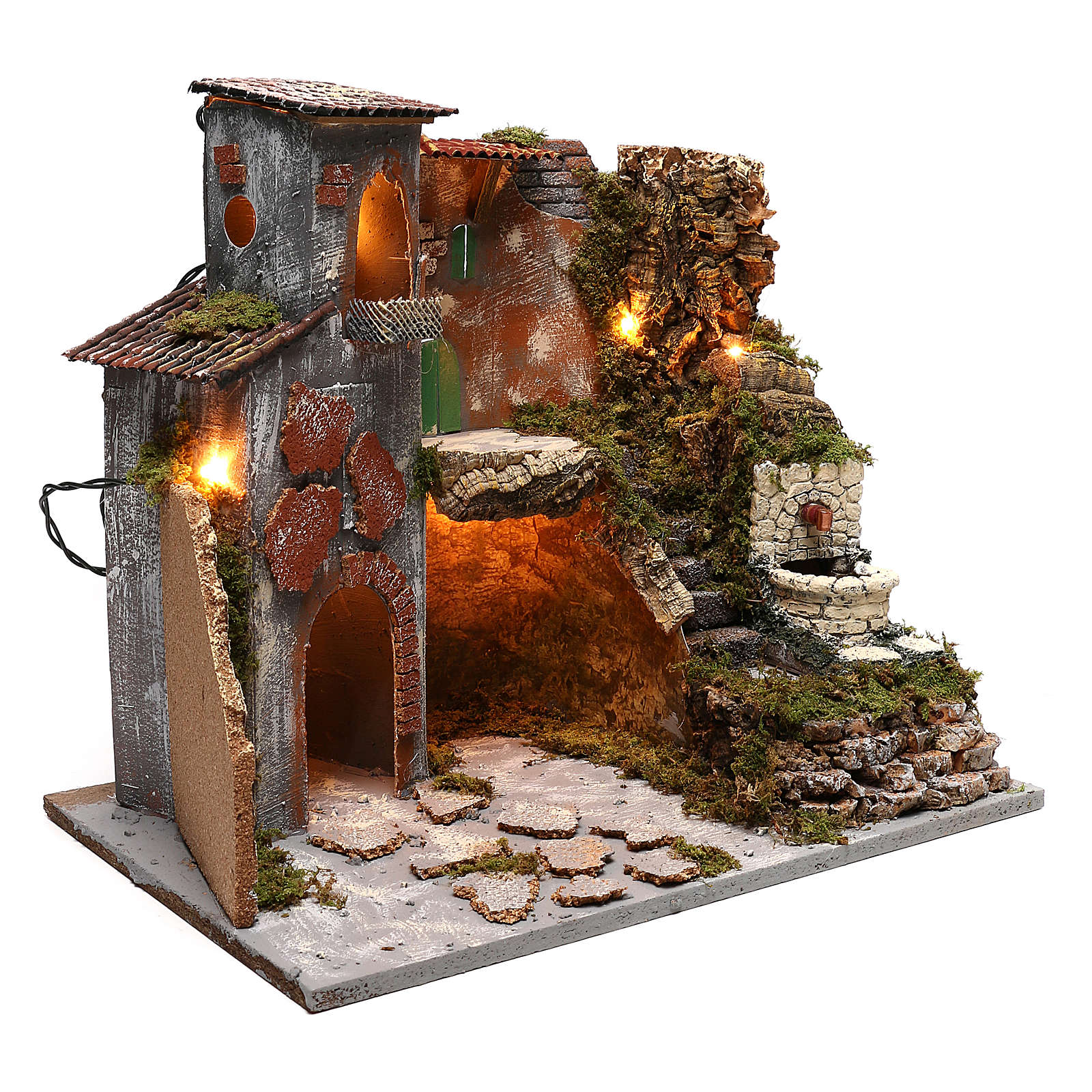 Nativity scene village setting with lights and fountain for 8 cm characters 30x45x40 cm 4