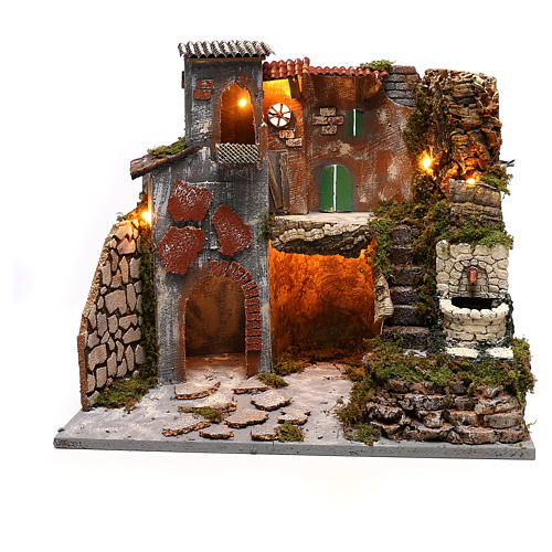 Nativity scene village setting with lights and fountain for 8 cm characters 30x45x40 cm 1