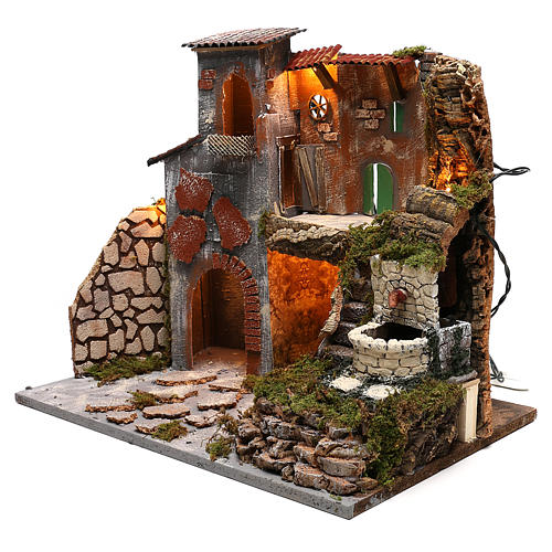 Nativity scene village setting with lights and fountain for 8 cm characters 30x45x40 cm 2