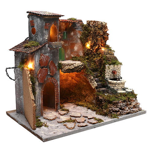 Nativity scene village setting with lights and fountain for 8 cm characters 30x45x40 cm 3