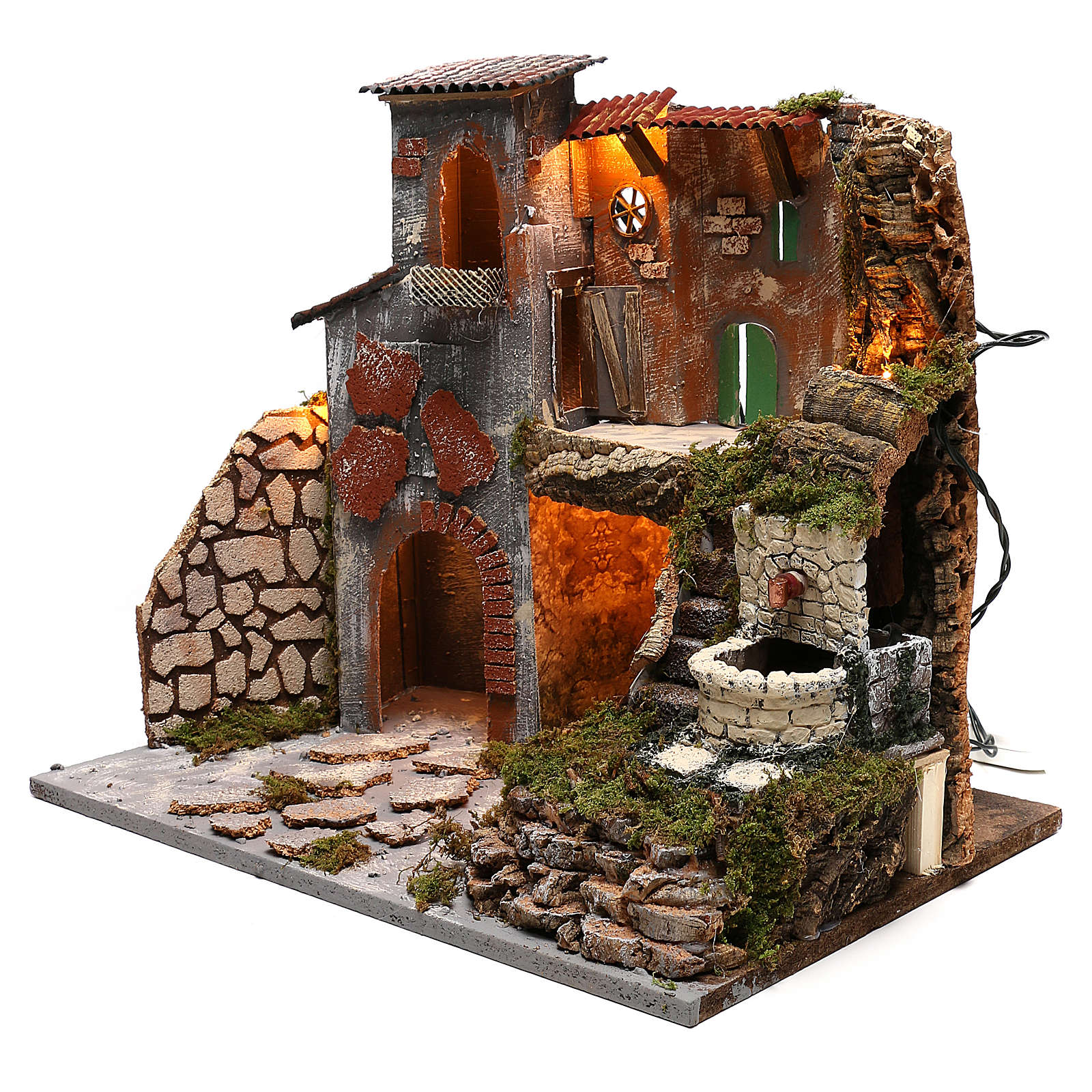 Village crèche lumières et fontaine avec pompe 30x45x40 cm pour crèche 8 cm 4