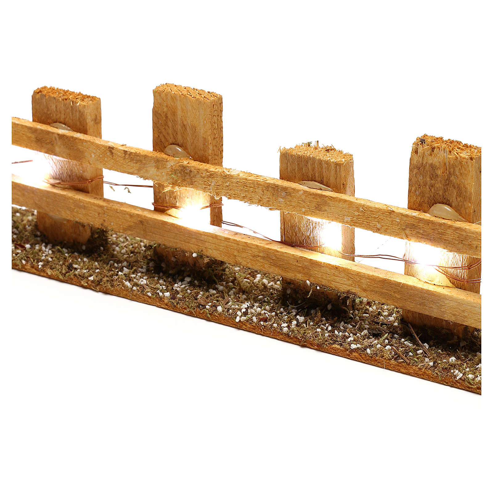 Wooden fence for Nativity scene 4x35x8 cm with lights for figurines 4-6 cm 4