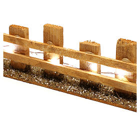 Wooden fence for Nativity scene 4x35x8 cm with lights for figurines 4-6 cm s2